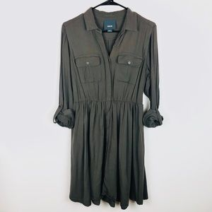 Anthro Maeve Green Shirt Dress H1